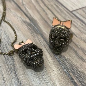 Betsey Johnson necklace and ring set.